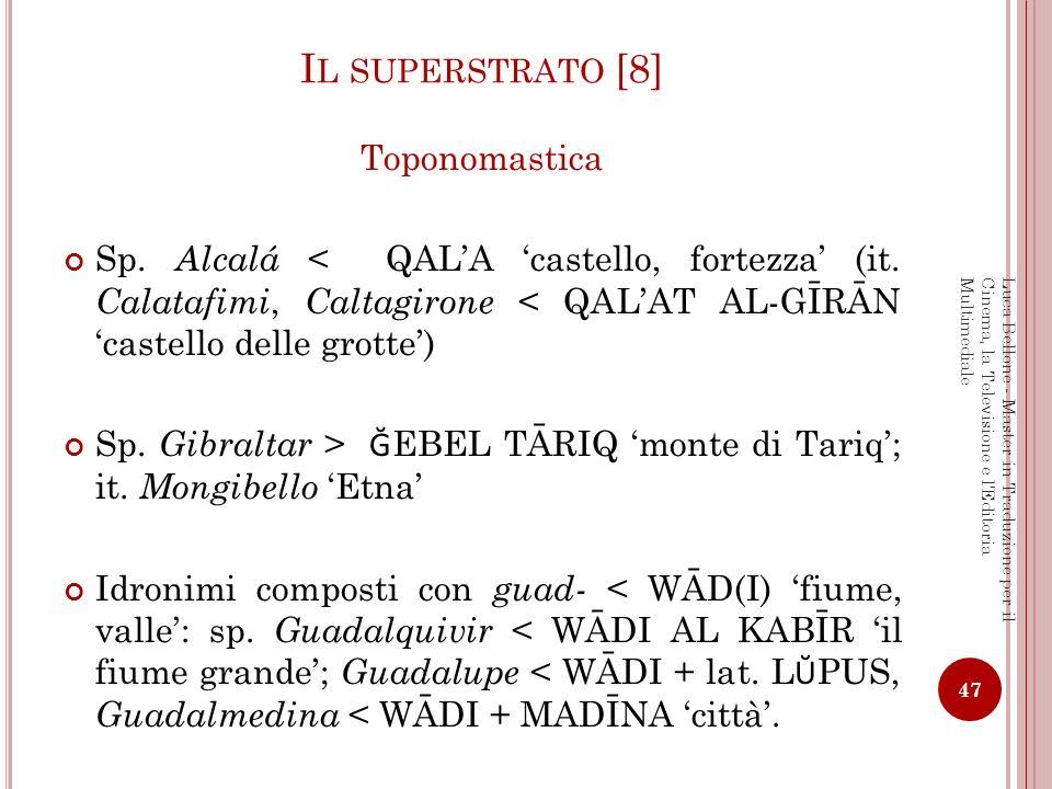 Il superstrato [8] Toponomastica